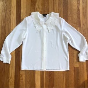 Vintage White Blouse with Embroidered Collar